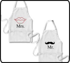 marriage gifts, gift for couples, anniversary gifts, gifts for mr and mrs, mr and mrs aprons